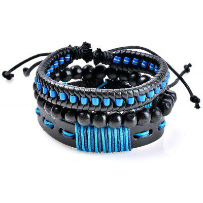Artificial Leather Woven Beads Bracelets Set