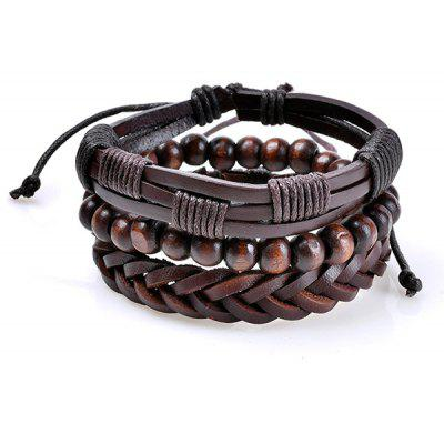 Vintage Faux Leather Woven Beads Friendship Bracelets
