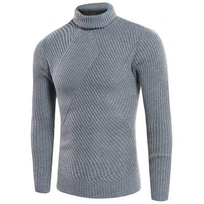 Buy LIGHT GRAY L Turtle Neck Twill Knitting Ribbed Sweater for $31.08 in GearBest store