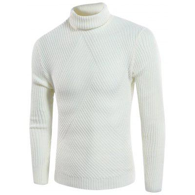 Buy OFF-WHITE Turtle Neck Twill Knitting Ribbed Sweater for $31.08 in GearBest store