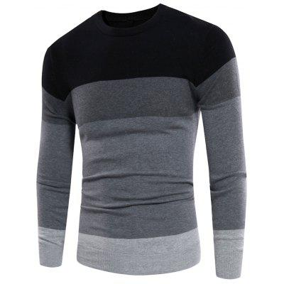 Crew Neck Color Block Panel Rib Design Sweater