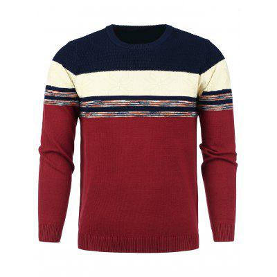 Crew Neck Color Block Panel Snowflake Knitted Sweater