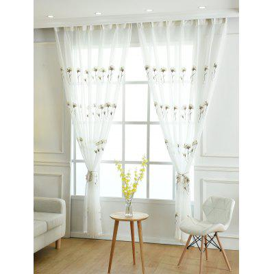 Floral Embroidery Sheer Tulle Curtain For Living Room