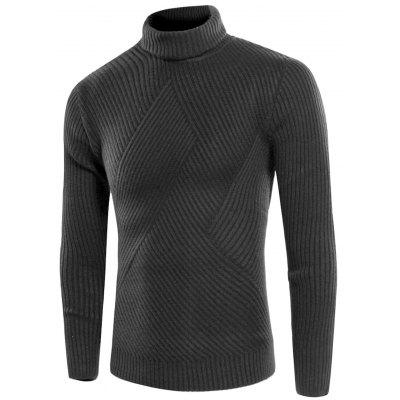 Buy DEEP GRAY Turtle Neck Twill Knitting Ribbed Sweater for $31.08 in GearBest store