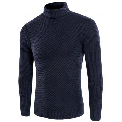 Buy CADETBLUE Turtle Neck Twill Knitting Ribbed Sweater for $31.08 in GearBest store