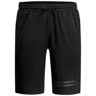Zipper Pocket Drawstring Running Shorts