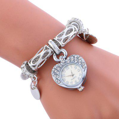 Alloy Strap Heart Charm Bracelet Watch