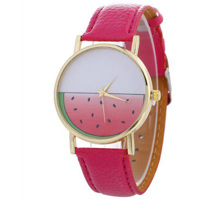 Buy TUTTI FRUTTI Faux Leather Strap Watermelon Face Watch for $5.45 in GearBest store