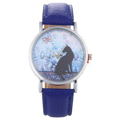 Faux Leather Strap Cat Face Watch