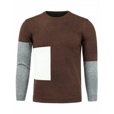 Crew Neck Color Block Panel Knitting Sweater