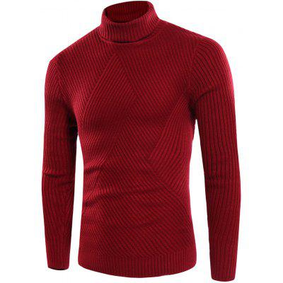 Buy RED L Turtle Neck Twill Knitting Ribbed Sweater for $31.08 in GearBest store
