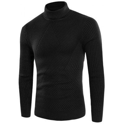Buy BLACK L Turtle Neck Twill Knitting Ribbed Sweater for $31.08 in GearBest store