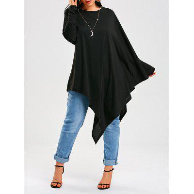 Buy BLACK L Long Sleeve Poncho Asymmetrical T-Shirt for $22.46 in GearBest store