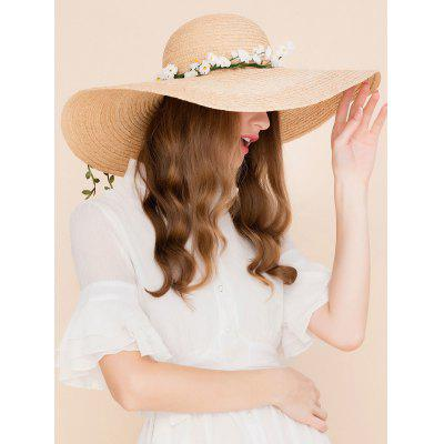Faux Flowers Embellished Wide Brim Straw Hat