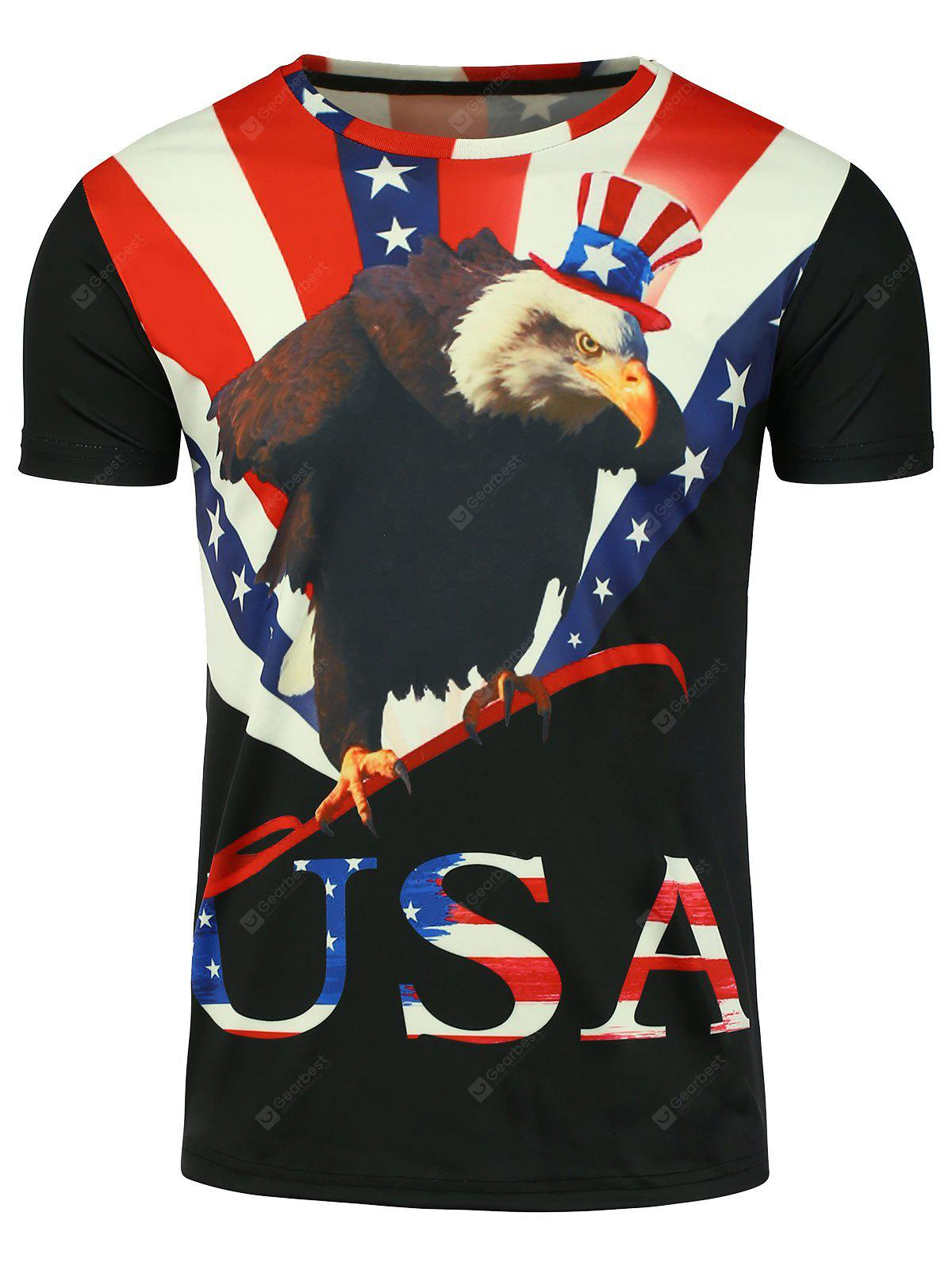 Crew Neck 3D Eagle Stampa Grafica Patriottica T-shirt