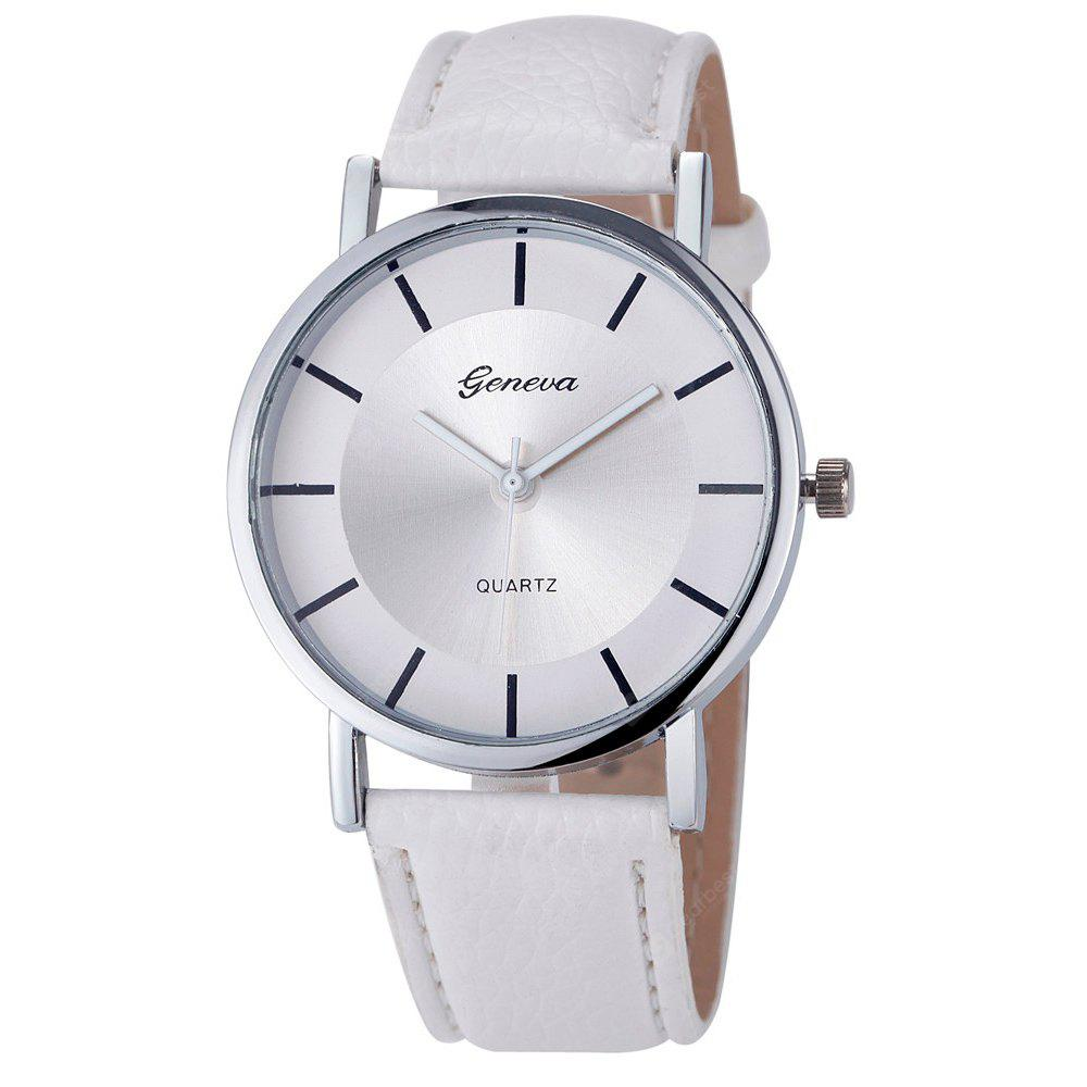 Faux Leather Strap Simple Analog Watch