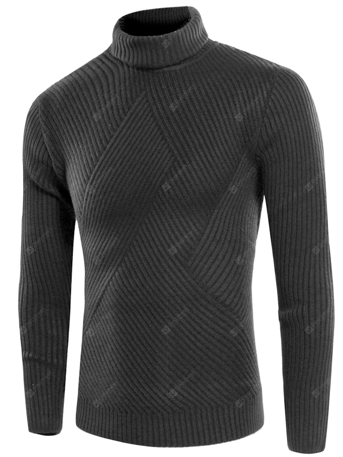 DEEP GRAY Turtle Neck Twill Knitting Ribbed Sweater
