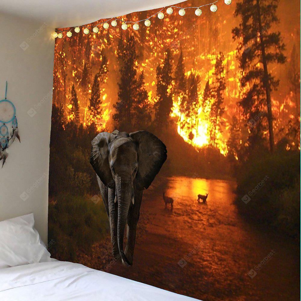 Elephant Fire Forest Wall Tapestry