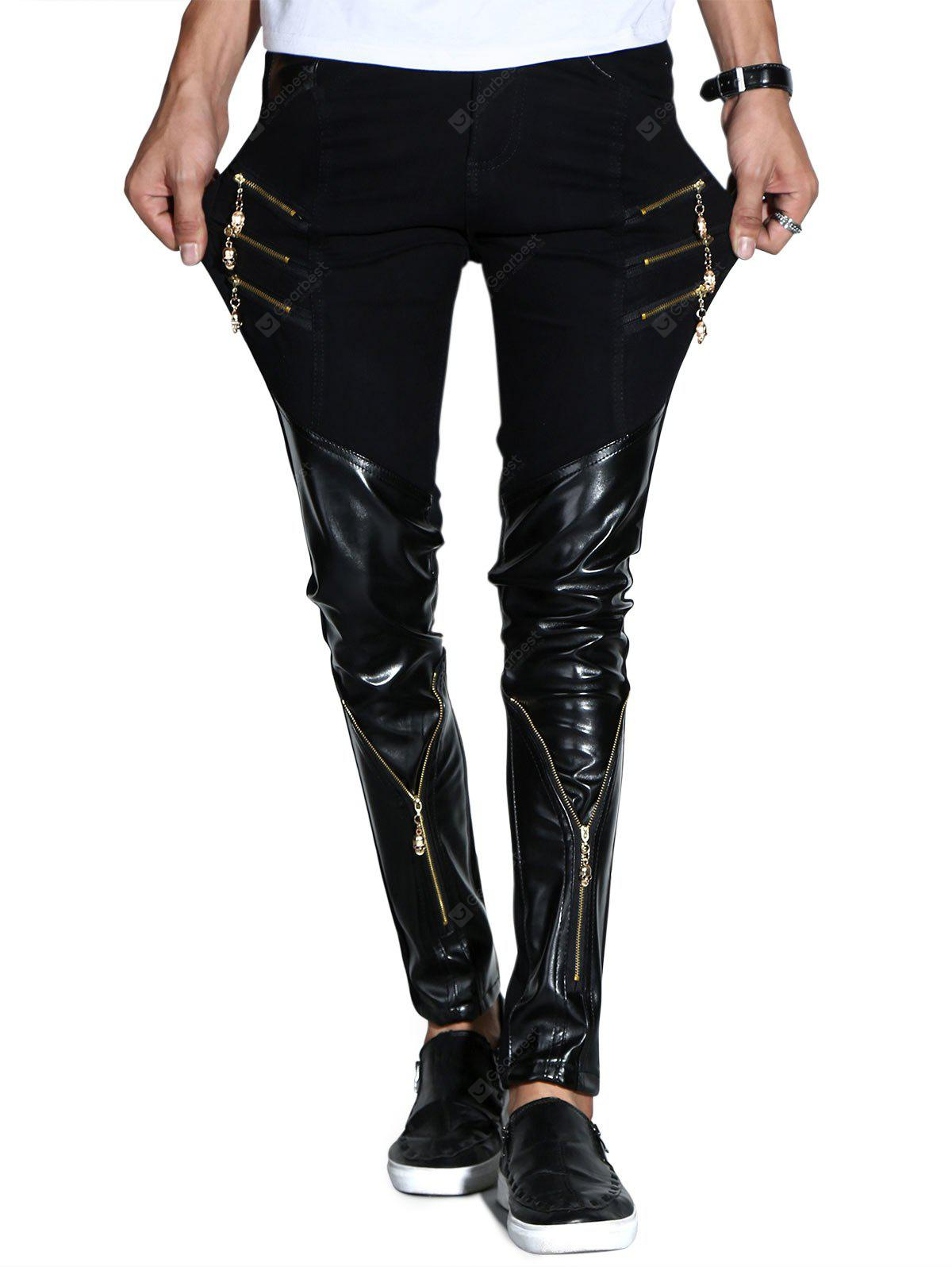 Zipper Skinny Casual Faux Leather Pants