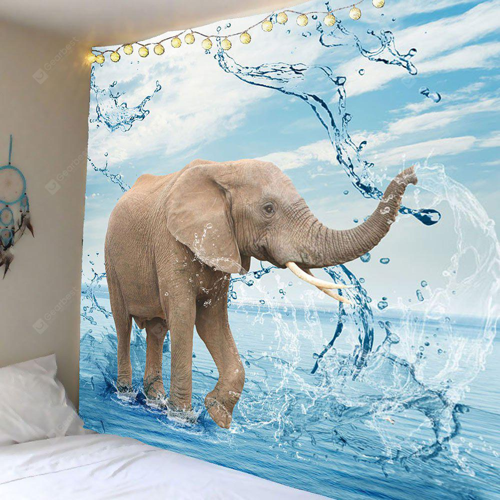 Elephant Playing Water Wall Art Tapestry