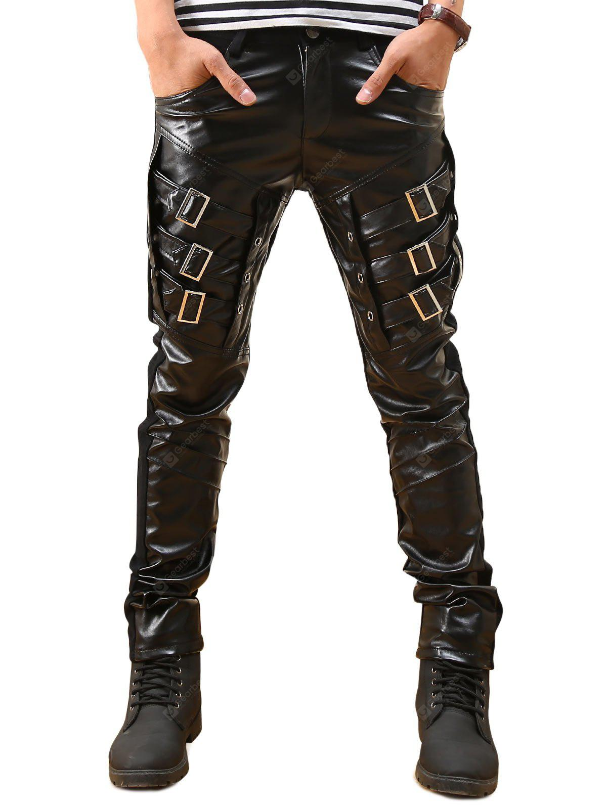 Buckles Skinny Faux Leather Pants