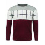 Crew Neck Color Block Panel Checked Sweater - RED