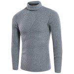 Turtle Neck Twill Knitting Ribbed Sweater - LIGHT GRAY