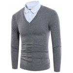 Shirt Collar Panel Knitting Faux Twinset Sweater - CHROME
