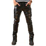Buckles Skinny Faux Leather Pants - BLACK