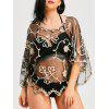 Wave Cut Retro Beach Lace Cover Up - CHAMPAGNE GOLD + BLACK