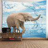 Elephant Playing Water Wall Art Tapestry - COLORFUL