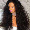 Long Side Part Shaggy Curly Lace Front Human Hair Wig - NATURAL BLACK