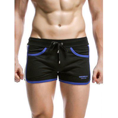 Drawstring Graphic Print Panel Design Home Shorts