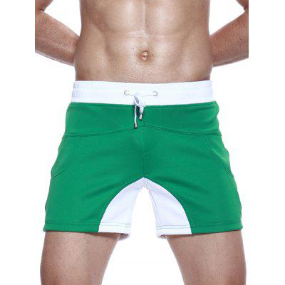 Buy GREEN L Drawstring Color Block Panel Pockets Shorts for $25.45 in GearBest store