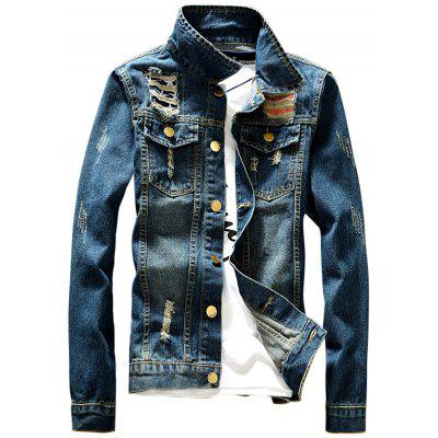 Front Pocket Design Destroyed Denim Jacket