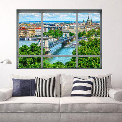 3D Window City View removível Wall Art Sticker