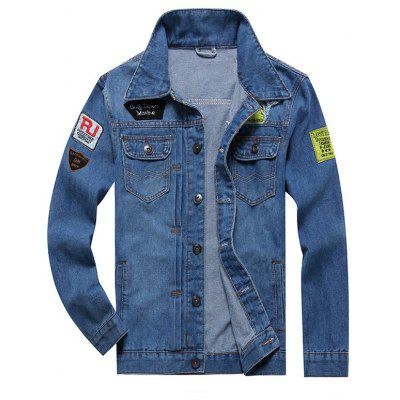 Embroidery Patched Button Fly Denim Jacket