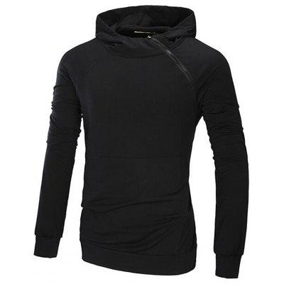 Hooded Oblique Zip Up Design Raglan Sleeve Hoodie