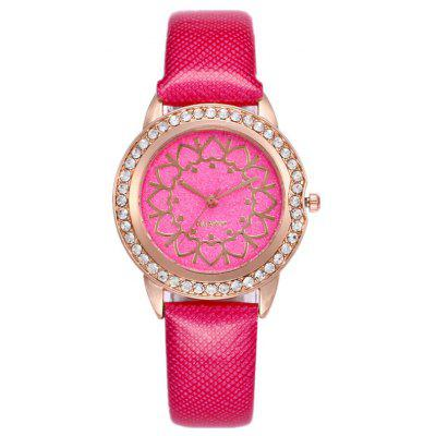 Buy TUTTI FRUTTI Rhinestone Heart Faux Leather Strap Watch for $6.11 in GearBest store