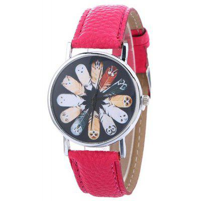 Buy TUTTI FRUTTI Faux Leather Strap Cartoon Feather Watch for $5.78 in GearBest store