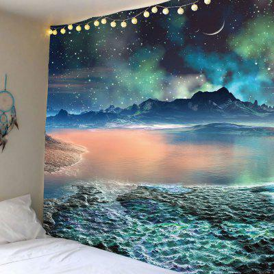 Moon Star Lake Mountain Wall Tapestry