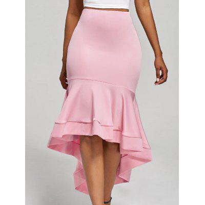 Buy PINK L Ruffle Trim High Waisted High Low Skirt for $23.11 in GearBest store