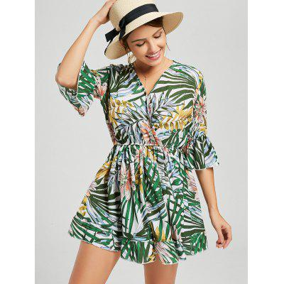 V Neck Tropical Print Surplice RomperJumpsuits &amp; Rompers<br>V Neck Tropical Print Surplice Romper<br><br>Fit Type: Regular<br>Material: Polyester<br>Package Contents: 1 x Romper<br>Pattern Type: Print<br>Season: Summer<br>Style: Fashion<br>Weight: 0.2700kg<br>With Belt: No