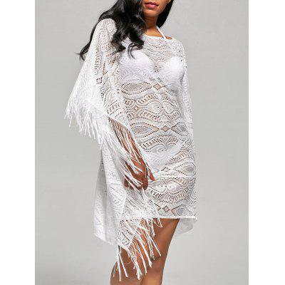 Fringed Cover Up Dress with Batwing Sleeve