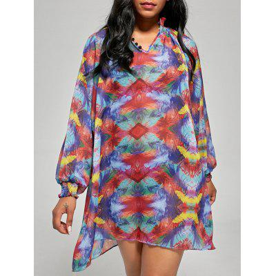 Chiffon Sheer Long Sleeve Cover Up Shift Dress