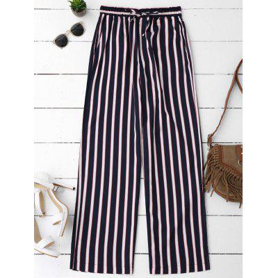 Buy STRIPE M Striped Elastic Waist Wide Leg Pants for $25.19 in GearBest store