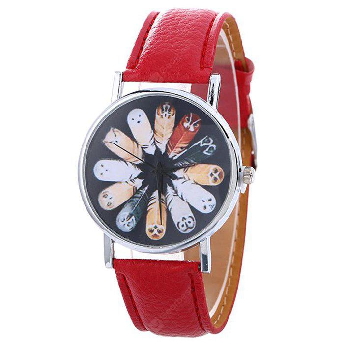 Faux Leather Strap Cartoon Feather Watch
