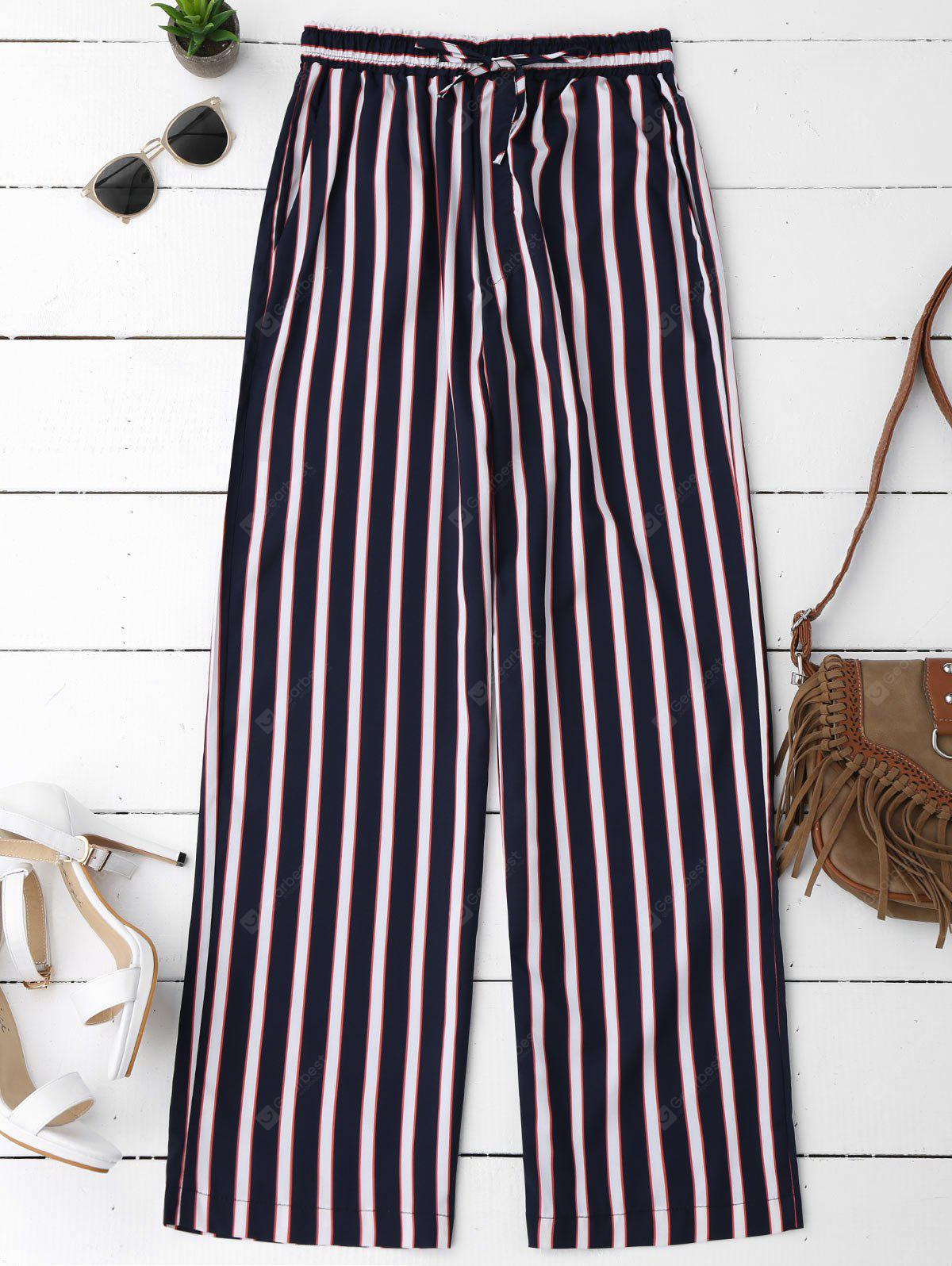 STRIPE L Striped Elastic Waist Wide Leg Pants