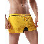 Drawstring Graphic Embroidered Panel Sport Shorts - AMARELO