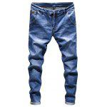 Ripped Zip Fly Skinny Jeans - BLUE